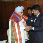 "Honorable Prime Minister of India Dr.Manmohan Singh appreciating Mr.Raju for winning the  ""Asia pacific Global Award"